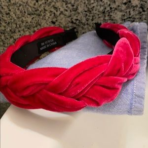 Hot pink faux-velvet braided headband NWOT